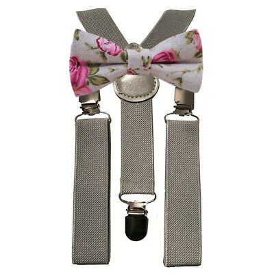 Matching Braces and Pink Floral Cotton Bow Tie Set Kids Children Boys