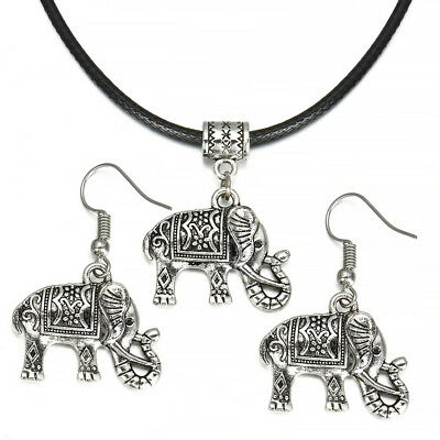 Tibet Silver Plated Chinese Style Elephant Pendant Necklace Earring Jewelry Set