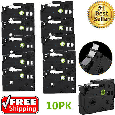 10Pack Black on White Label Tape For Brother TZ 231 TZe 231 P-Touch 26.2ft USA