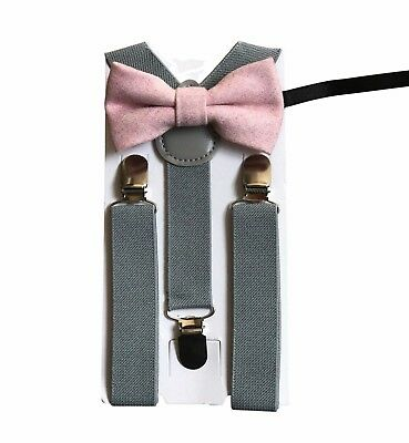 Matching Braces and Vintage Pink Blush Wool Bow Tie Set Kids Children Boys