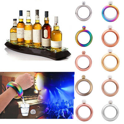 3.5oz Portable Creative Stainless Steel Funnel Bangle Bracelet Party Drinkware