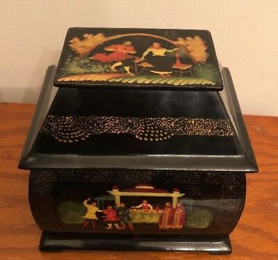 Black Enamel Jewelry Box Lacquer Ware Asian Japan Japanese Antique