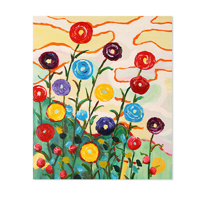 Hand Painted Oil Painting Abstract Modern Wall Art Decor Canvas Framed Flowers