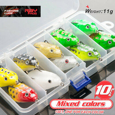 10Pcs Fishing Lures Frog Topwater Crankbait Hooks Bass Baits Tackle Kit With Box