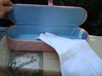 Vintage 1950's Pink And Blue Satin Glove Box With Gloves