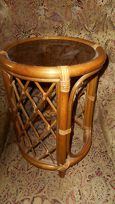 PICKUP ONLY CINTI OH  Vintage Rattan Round Accent Side Table - Smoked Glass Top