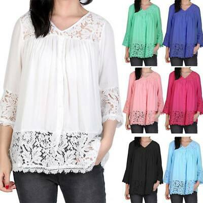 CA Womens Stylish Lace V-neck Baggy T Shirt Lady Casual Tops Blouse Plus Size DS