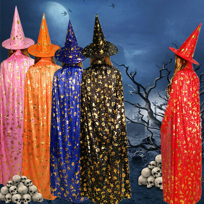 AU STOCK Adult Kids Cloak+Hat Witch Wizard Cape Halloween Cosplay Costume Party