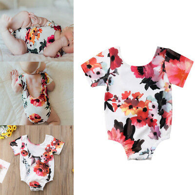 Cute Newborn Baby Girl Backless Romper Bodysuit Jumpsuit Playsuit Clothes Outfit