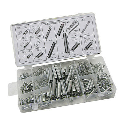 200pc 20 Sizes Spring Assortment Kit Zinc Plated Steel Compressed - Extended