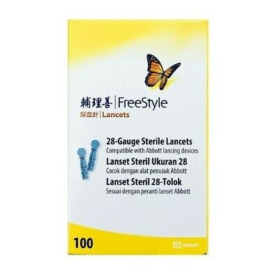 Abbott Freestyle 100 Thin Lancets 28 Gauge **New Packaging**