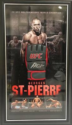 Georges St-Pierre Hand Signed Framed Ufc Glove With Backdrop Mcgregor Rousey