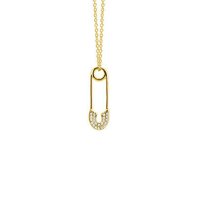 14k Yellow Gold Over Pin Shape Round Cut Diamond Fancy Pendant For Womens