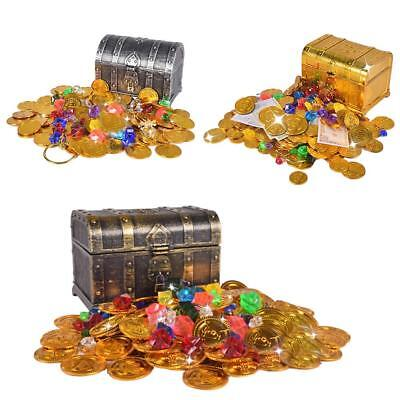 Treasure Hunting Box Children Retro Plastic Toy Gold Coins Gems Jewelry Playset