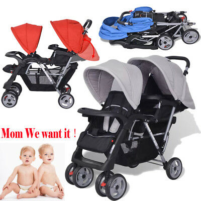 Folding Twins Baby Tandem Stroller Pushchair Buggy+Raincover Steel 3 Colors UK