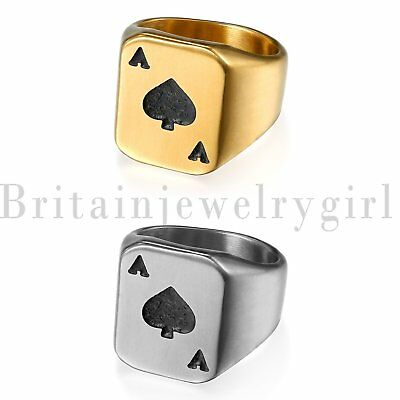 New Men's Biker Stainless Steel Spades A Heart Poker Wedding Ring Band Size 7-14
