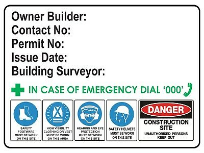 OWNER BUILDER SIGN SAFETY SIGN  300MM x 225mm Poly Rigid Plastic