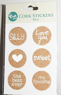 The Craft Stall Cork Stickers 6pk Great For Card Making Or Scrapbooking