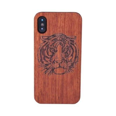 For iPhone X Wooden Case,fashion style Rosewood+PC Back For iPhone X(Tiger) V8K8