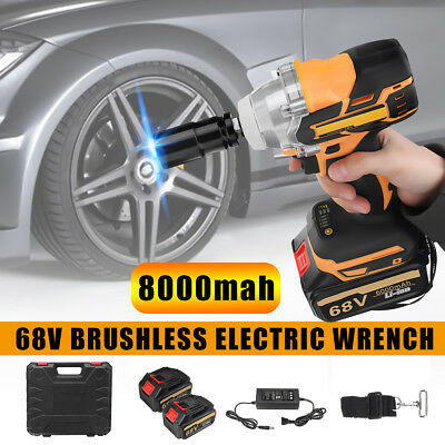 68V 8000mAh Electric Impact Wrench Cordless Brushless Power Driver + 2 Battery