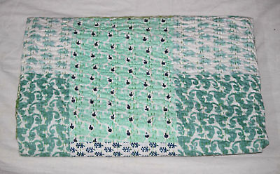 Indian Patchwork Queen Size Kantha Handmade Quilt Throw 100% Cotton Bed Cover