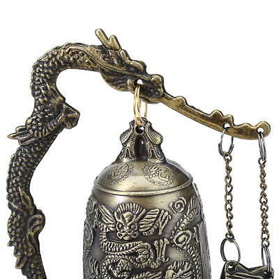 Vivid classical Bronze Lock Dragon Carved Buddhist Bell China Artware Exquisite