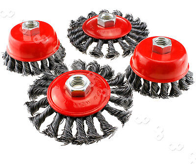 4x 3 or 4 inch Angle Grinder Twist Knot Wire Wheel Cup Brush Kit UK M14 UK