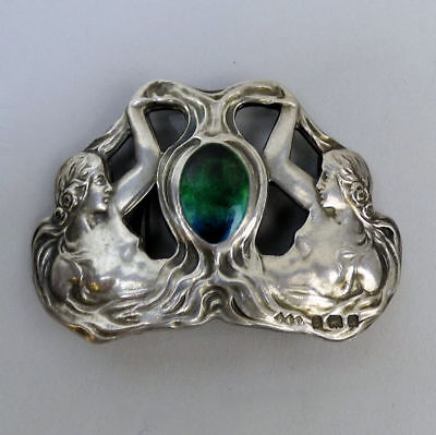 Fine Art Nouveau Silver & Enamel Buckle Smith & Batlam Birm. 1903 - 21 Grams