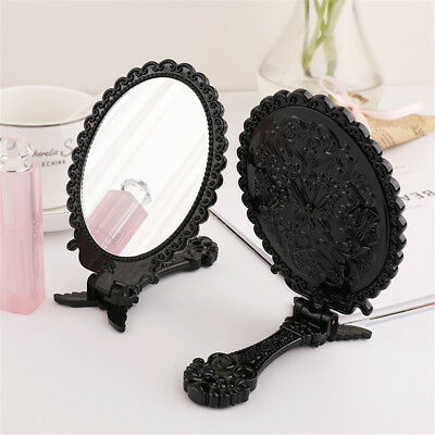 Small Decorative Vintage Antique Style BLACK Hand Held Standing Vanity Mirror X1