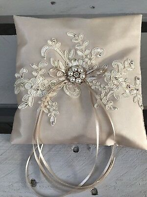 Champagne Wedding Ring Cushion Bearer Pillow Sparkly Floral Lace Pearls Diamanté