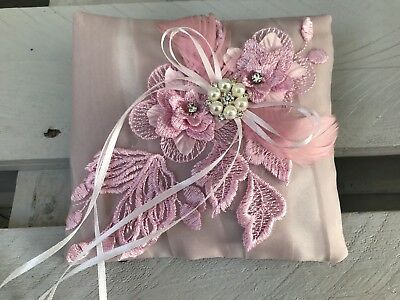 Dusty Pink Wedding Engagement Ring Cushion Bearer Pillow  Lace Pearl Diamanté