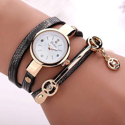 New Women's Fashion Ladies Faux Leather Rhinestone Analog Quartz Wrist Watch /AK