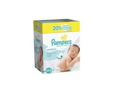 Pampers Sensitive Water-Based Baby Wipes 9X Refill Packs, 576 Count