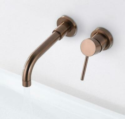 Wall Brushed Rose Gold Brass Bathroom Basin Single Handle Sink Tub Mixer Faucet