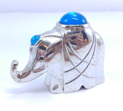CHRISTOFLE Silverplated BLUE Elephant Paperweight Figurine Lumiere Collection