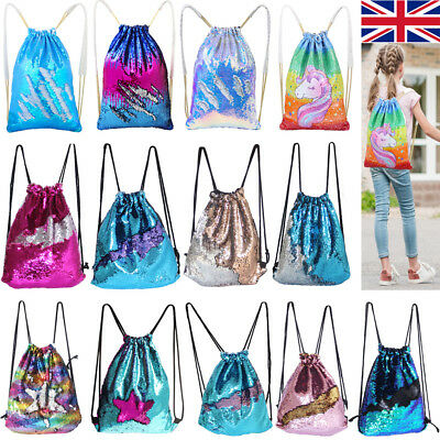 Outdoor Shoulder Mermaid Reversible Sequin Bags Glitter Sports Backpack UK Stock