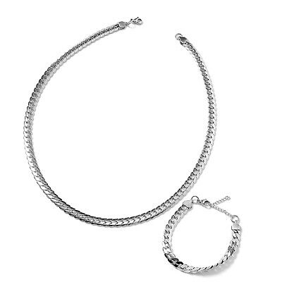 """Stainless Steel Flat Curb Bracelet 7.5-8"""" and Necklace Set 24"""""""