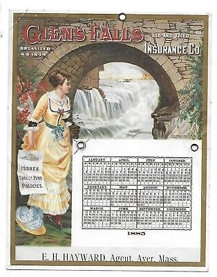 1885 , Calendar, Glen Falls, Old And Tried Insurance Co,trade Card,ayer, Mass