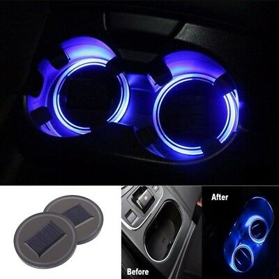 1x Car Solar Cup Holder Bottom Pad Atmosphere Lamp LED Light Cover Accessories
