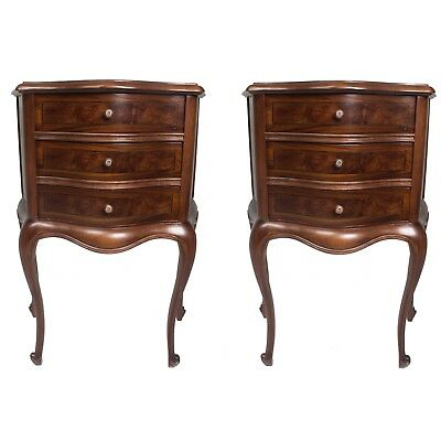 Pair Of Wood Commode Nightstand Corner Table French Style Louis Xv