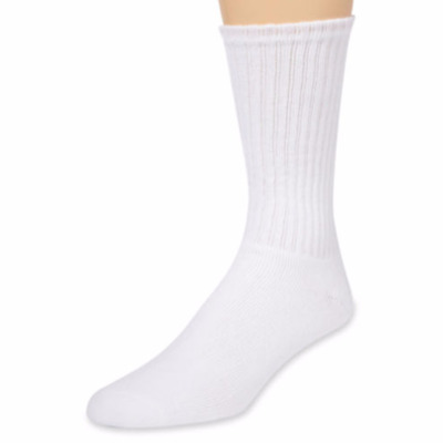 3 6 12 Pairs Mens White Sports Work Athletic Crew Socks Cotton Size 9-11 10-13