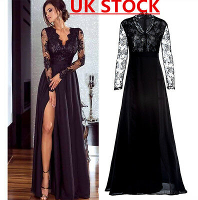 Women Lace Evening Party Ball Prom Gown Formal Cocktail Wedding Long Dress 6-16