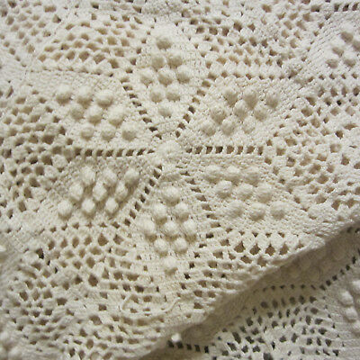"Gorgeous Vintage HAND-CROCHETED Bedspread/Tablecloth…66"" x 77"""