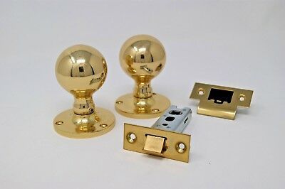 Ball Mortice Knob Handle 62.5mm Dia Rose Latch Set Polished Brass Finish