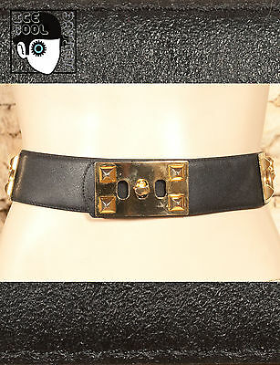 "VINTAGE 80s CALFSKIN FACED SYNTHETIC BELT - 27"" to 28"" -  (Q)"