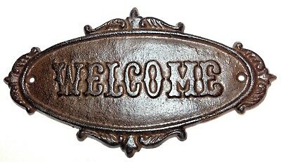 """Cast Iron """"WELCOME"""" Plaque Antique Victorian Style Wall Door Shabby Chic Decor"""
