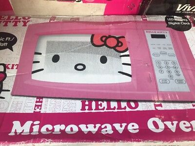 Hello Kitty Microwave .7 Cubic Ft 700 Watts Child Safe Lock Timer 10 Powers Pink