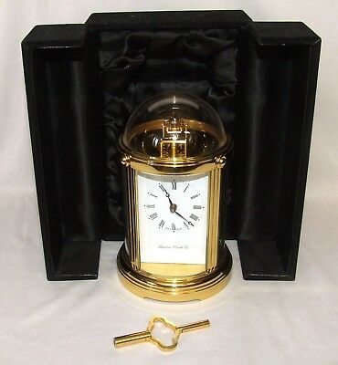 RARE LONDON CLOCK Circual Brass Carriage Mantel Clock 11 Jewels Swiss with CASE