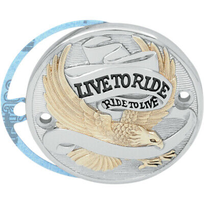 Drag Chrome & Gold Live to Ride 2 Hole Points Cover Harley Evo Big Twin