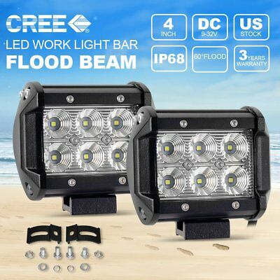 2X 4inch 18W CREE LED Work Light Bar 4WD Offroad Flood Fog ATV SUV Driving Lamp
